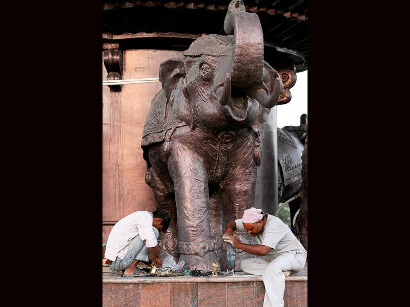 "Twenty statues of elephants and fountains with bronze elephants have also been installed in the park. Uttar Pradesh chief minister Mayawati's ""dream project"" — Bhim Rao Ambedkar Park — has been scheduled to be unveiled on October 14. Photo by Virendra Singh Gosain/HT photos."