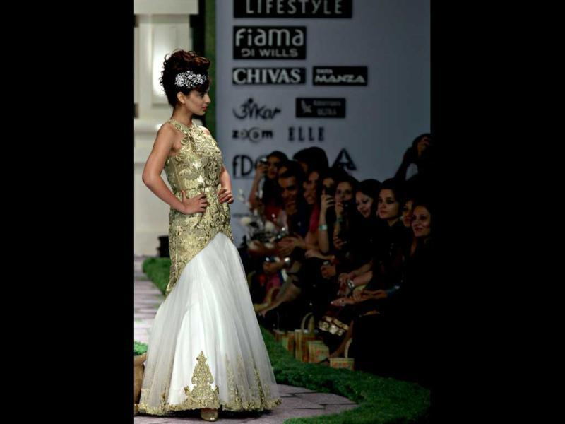 Kangna Ranaut walks the ramp for designer Shantanu Goenka.