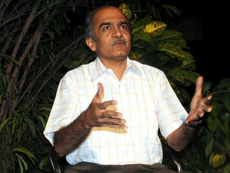 Prashant Bhushan addresses the media after being discharged from RML hospital. Bhushan was allegedly attacked by Sri Ram Sena activists in his Supreme Court chamber.