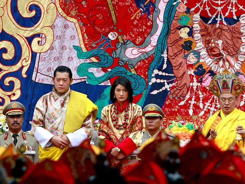 King Jigme Khesar Namgyal Wangchuck and queen Jetsun Pema sit during Buddhist blessings prior to their marriage at the Punakha Dzong, in Punakha, Bhutan.