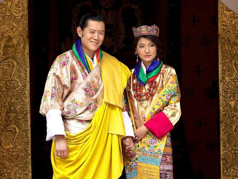 King Jigme Khesar Namgyal Wangchuck and Queen Jetsun Pema pose after they were married at the Punakha Dzong, in Punakha, Bhutan.