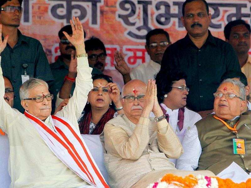 Senior BJP leader LK Advani with party leaders MM Joshi and Kalraj Mishra at a public meeting during his