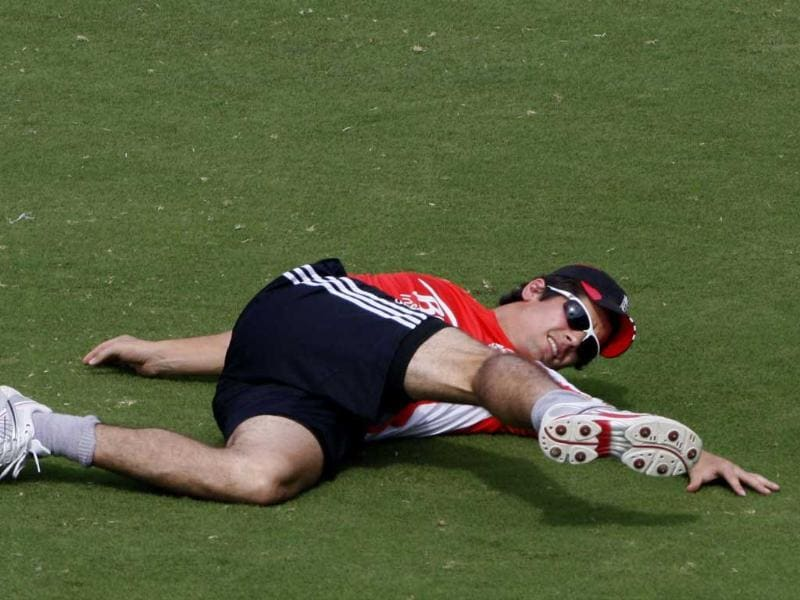 England cricket team captain Alastair Cook exercises during a practice session in Hyderabad.