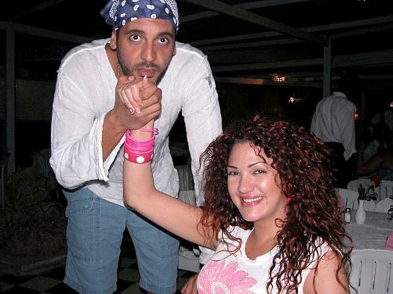 An undated picture allegedly found in the personal laptop of Hannibal Gaddafi, son of Muammar Gaddafi, and released by Libyan National Transitional Council fighters shows him and his Lebanese wife Aline Skaff at a restaurant in Tunis.