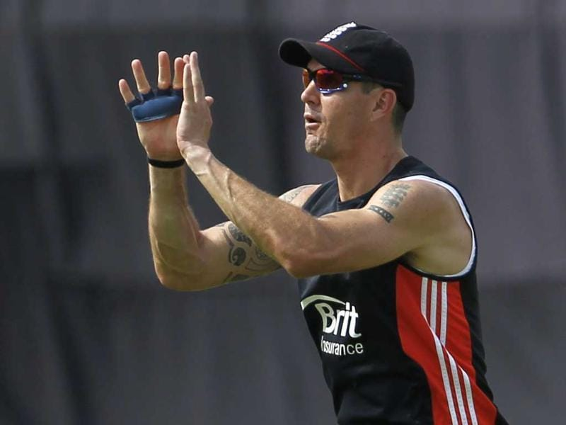 England's Kevin Pietersen catches a ball during a practice session ahead of their first one-day international cricket match against India in Hyderabad.