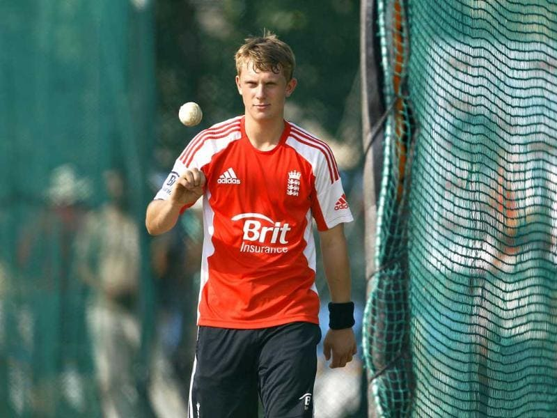 England's cricketer Scott Borthwick prepares to bowl in the nets during a training session in Hyderabad.