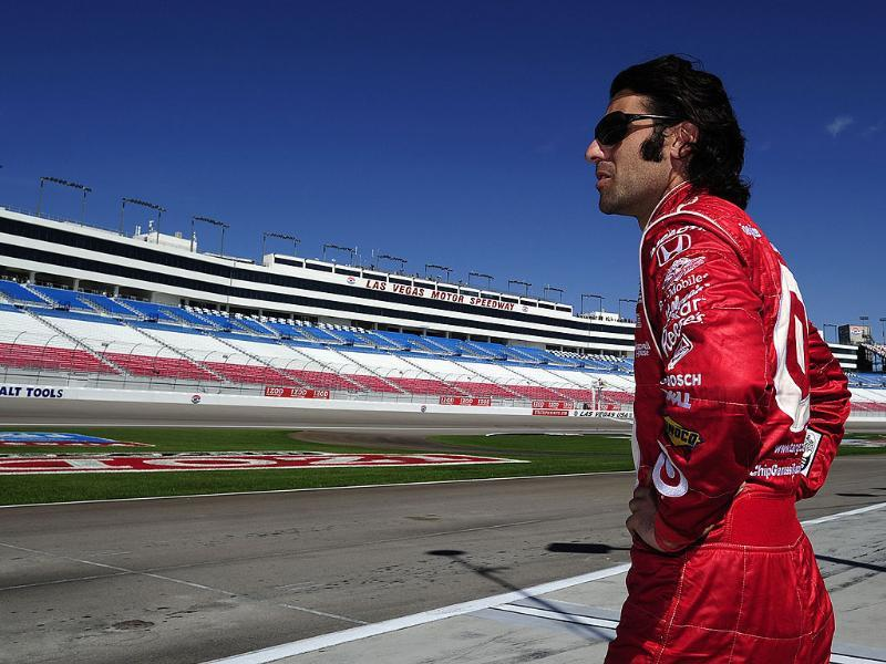 Dario Franchitti of Scotland driver of the #10 Target Chip Ganassi Racing Dallara Honda during practice for the IZOD IndyCar Series World Championship at the Las Vegas Motor Speedway in Las Vegas, Nevada.