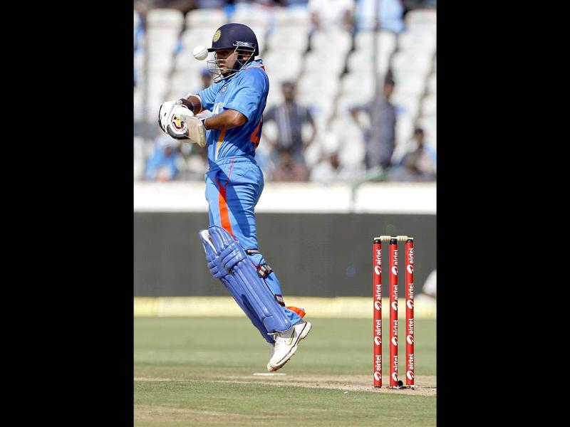 Parthiv Patel plays a shot during the first one-day international cricket match against England in Hyderabad.