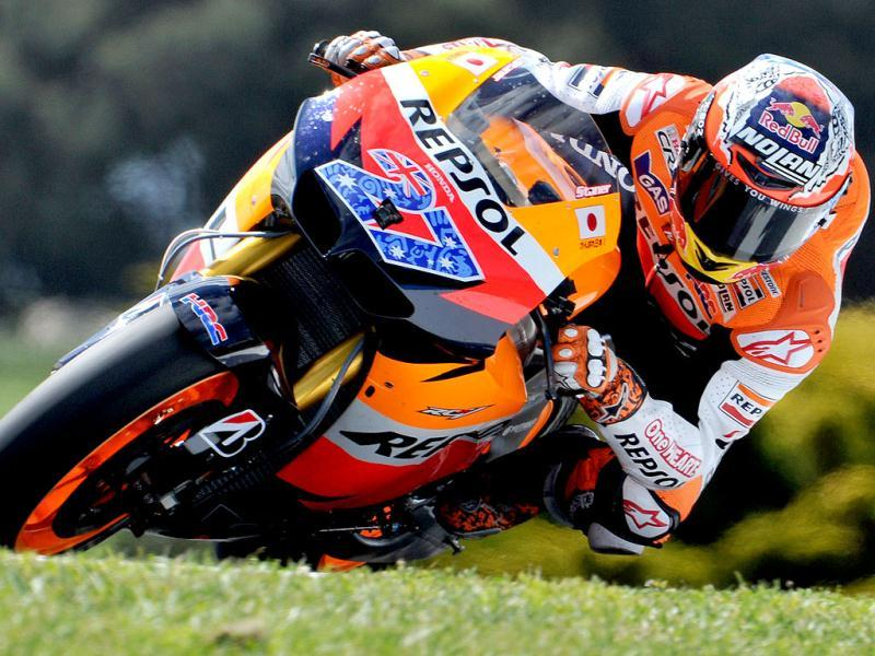 Casey Stoner of Australia races his Honda during the third practice session for the Australian Grand Prix motorcycling MotoGP race at Phillip Island.