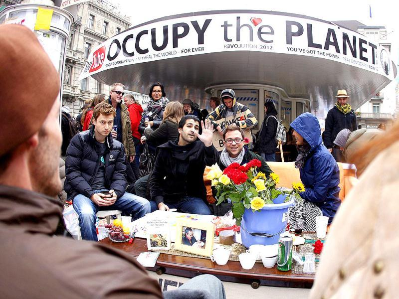 Demonstrators attend Occupy Paradeplatz protest in front of Swiss banks UBS and Credit Suisse in Zurich.
