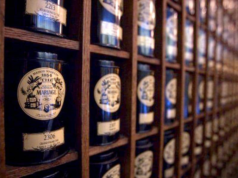 Picture showing boxes of tea at the French luxury Tea House, Mariage Freres, in Le Marais area, central Paris.