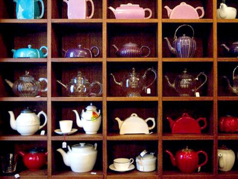 Picture showing tea pots at the French luxury Tea House, Mariage Freres, in Le Marais area, central Paris.