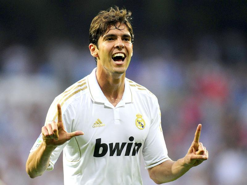 Real Madrid's Brazilian midfielder Kaka celebrates after scoring his team's second goal during the Spanish League football match Real Madrid against Betis at the Santiago Bernabeu stadium in Madrid. (Photo: AFP)