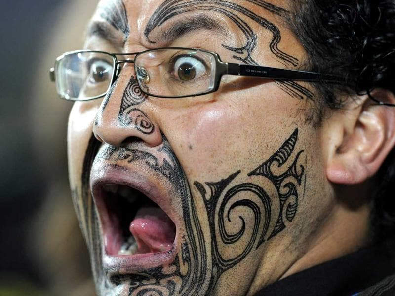 A New Zealand All Blacks fan attends the 2011 Rugby World Cup semi-final match Australia vs New Zealand at Eden Park Stadium in Auckland.