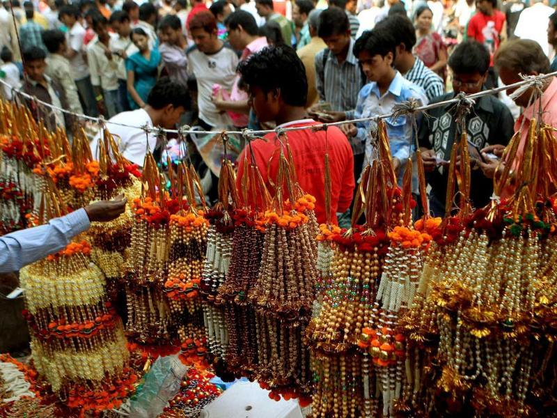 A view of the crowded Sadar Bazar Market, ahead of Diwali festival in Delhi.