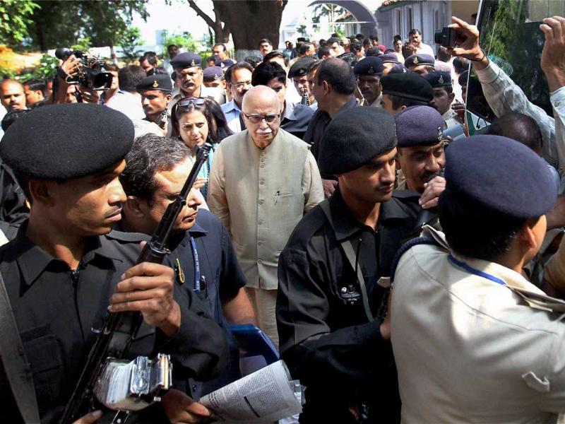 BJP senior leader L K Advani leaves for Bhopal during the 'Jan Chetna Yatra'at Hoshangabad in Madhya Pradesh.
