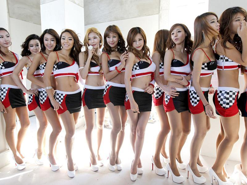 Grid girls of the South Korean Formula One Grand Prix pose ahead of the start of the race at the Korea International Circuit in Yeongam.