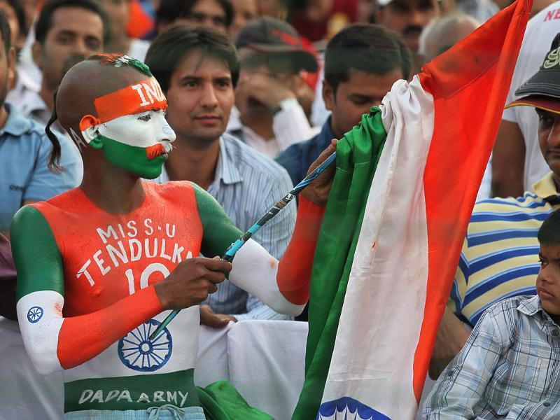 Indian cricket fan during the 2nd ODI match between India and England at Ferozshah Kotla Ground in New Delhi.