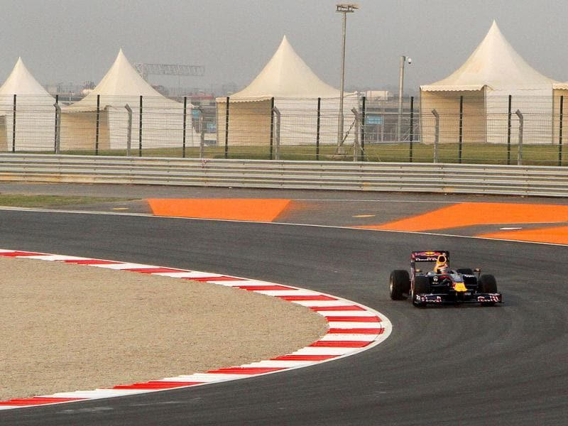A Red Bull Renault Formula One show car drives on the newly-inaugurated Buddh International Circuit ahead of the Indian Grand Prix in Greater Noida. By HT Photographer Virendra Singh Gosain
