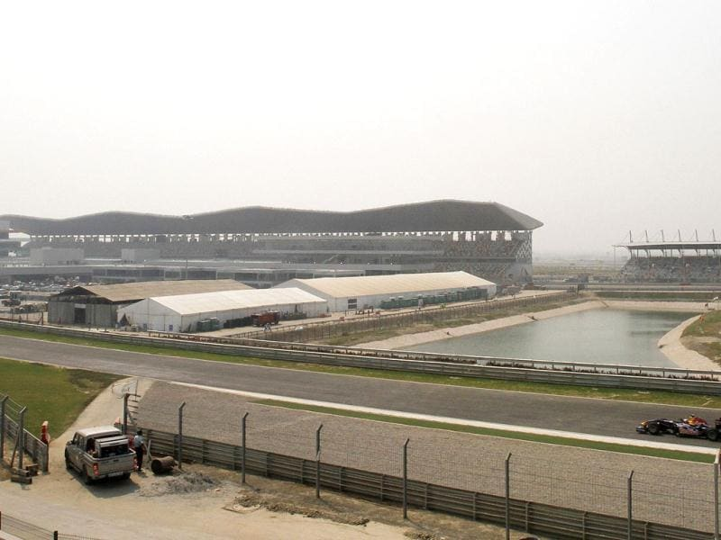 A Red Bull Formula One car drives around the track at the Buddh International Circuit, the venue for the first ever Indian F1 race at Greater Noida.