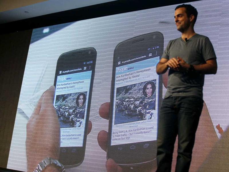 Hugo Barra, product management director of Android at Google, introduces the Android beam function of the new Galaxy Nexus smartphone in Hong Kong.