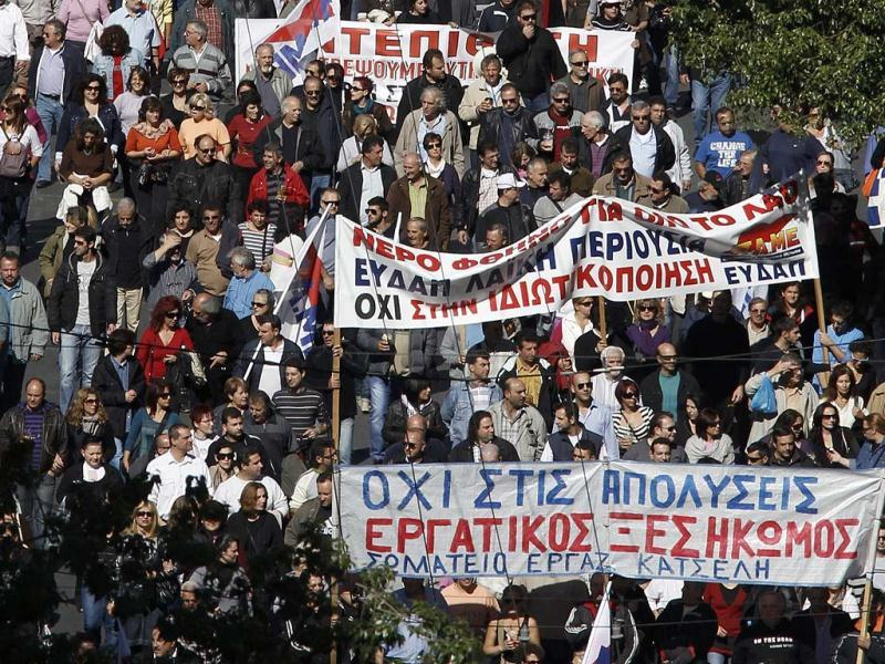 People take part in an anti-austerity rally in Athens' Syntagma (Constitution) square.