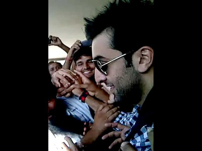 Ranbir Kapoor is surrounded by his fans.