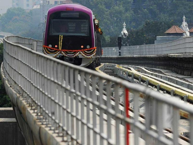 The Bangalore Metro will run the services on seven-km stretch metro rail from Mahatma Gandhi road to Byyappanahalli from morning to late evening. (AFP)
