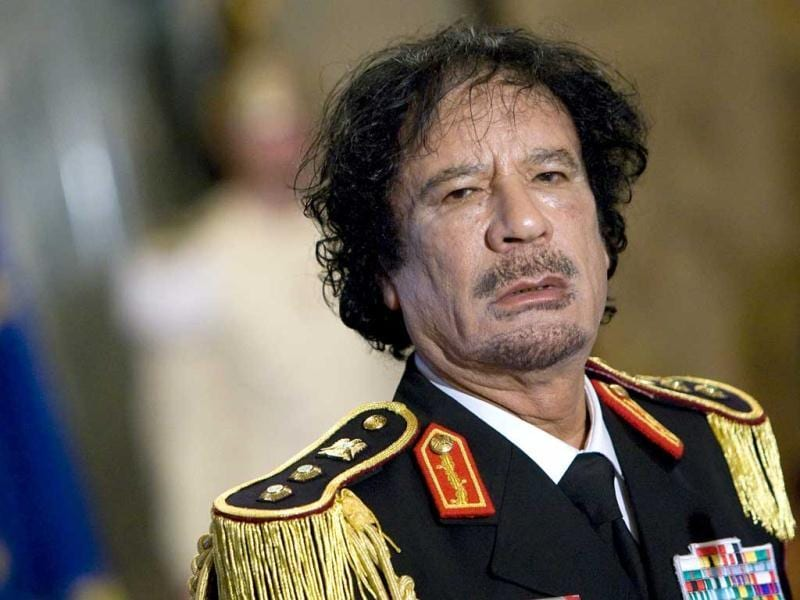Libya's leader Muammar Gaddafi looks on during a news conference at the Quirinale palace in Rome. (Files)