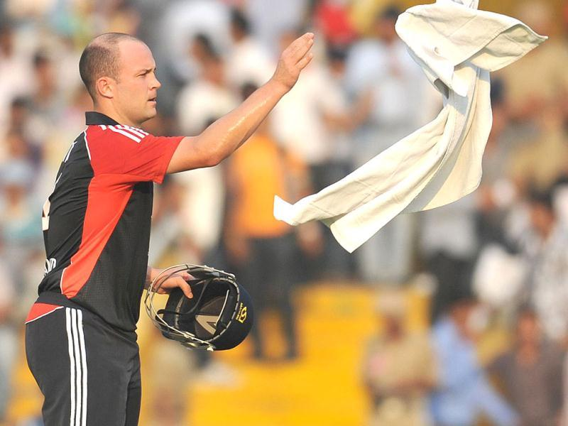 England cricketer Jonathan Trott throws a towel during the third one day international cricket match between India and England at The Punjab Cricket Association (PCA) Stadium.