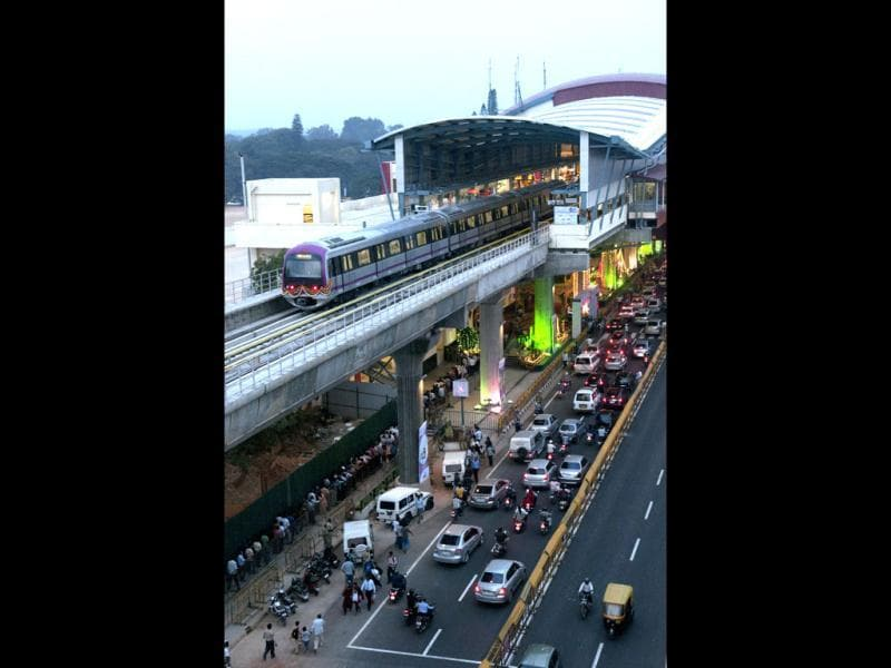 The Bangalore Metro passes through MG Road on its first day of operations on Thursday. Photo by Aniruddha Chowdhury/Mint