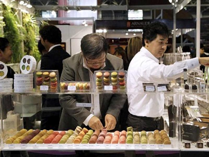Macaroons are displayed at a Japanese stand of the 17th Salon du Chocolat (chocolate fair) in Paris. (AFP)