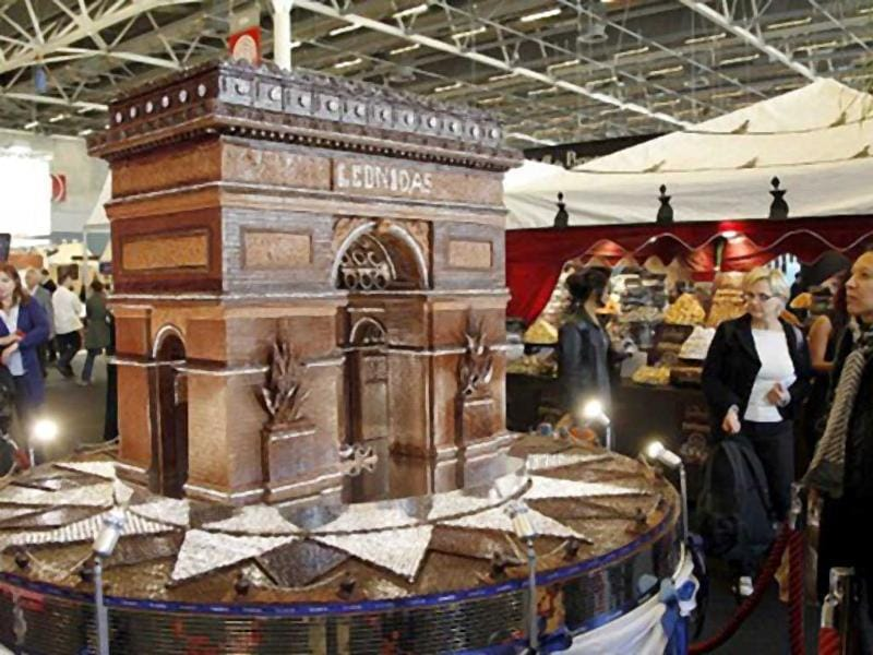 An triumph arch-shaped chocolate is displayed at a stand of the 17th Salon du Chocolat (chocolate fair) in Paris. The event runs until October 24, 2011. (AFP)