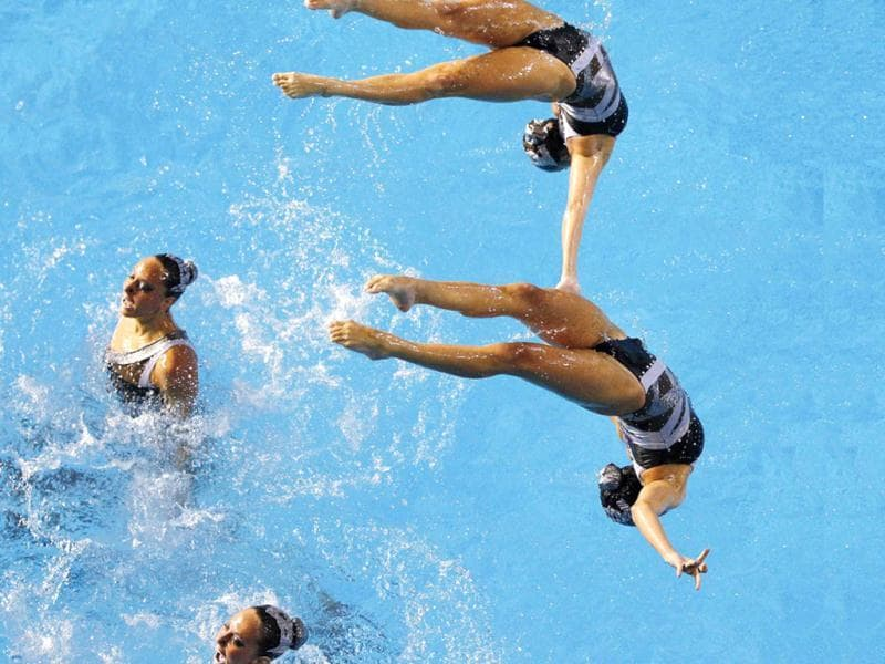 Brazil's synchronized swimming team performs during the free routine finals at the Pan American Games in Guadalajara.