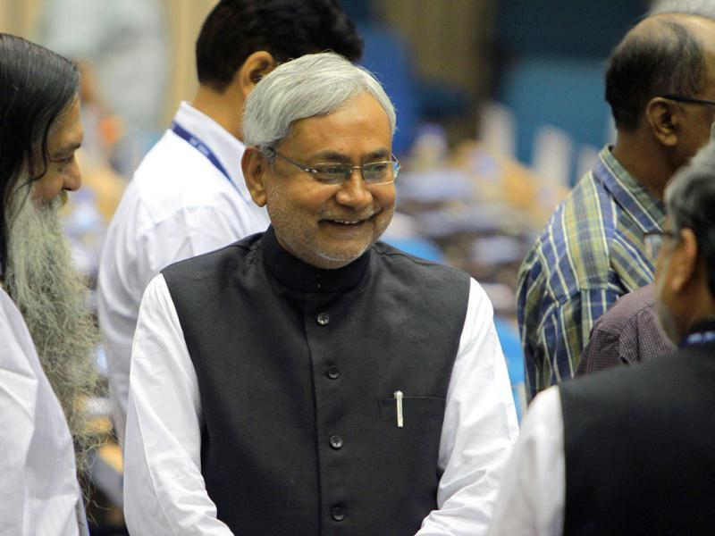 Bihar chief minister Nitish Kumar during the inauguration of the 56th meeting of the National Development Council (NDC) in New Delhi. ( HT Photo/ Sunil Saxena )