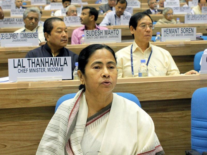 West Bengal chief minister Mamata Benerjee during the inauguration of the 56th meeting of the National Development Council (NDC) in New Delhi. (HT Photo/ Sunil Saxena)