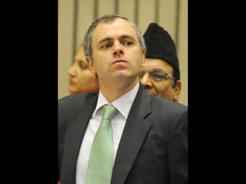 Chief minister of Jammu and Kashmir Omar Abdullah watches proceedings during the inauguration of the 56th meeting of the National Development Council (NDC), in New Delhi. (AFP Photo)