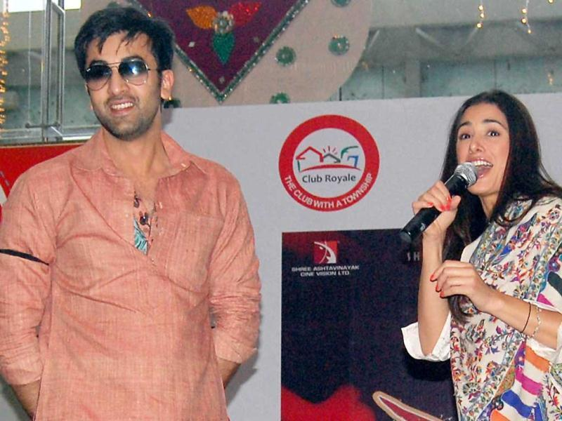 Actors Ranbir and Nargis look excited while promoting their film in Lucknow. (UNI)