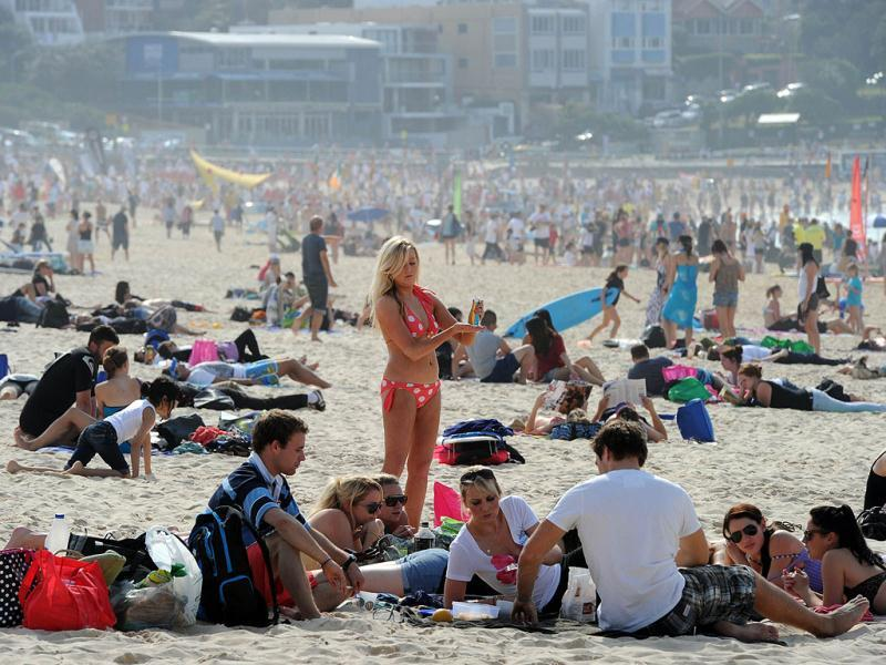 Sydneysiders flock to seaside for the inaugural Breakfast On The Beach at Sydney's Bondi Beach. The event, which attracted thousands of picnickers, was part of the Crave Sydney International Food Festival.
