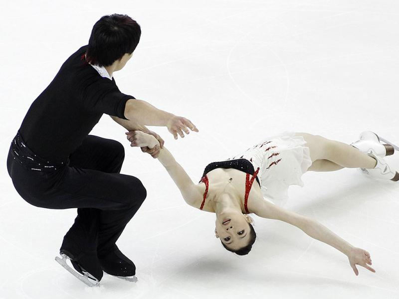 Zhang Dan and Zhang Hao of China perform during the pairs short program at the Skate America ISU Grand Prix of Figure Skating in Ontario, California.