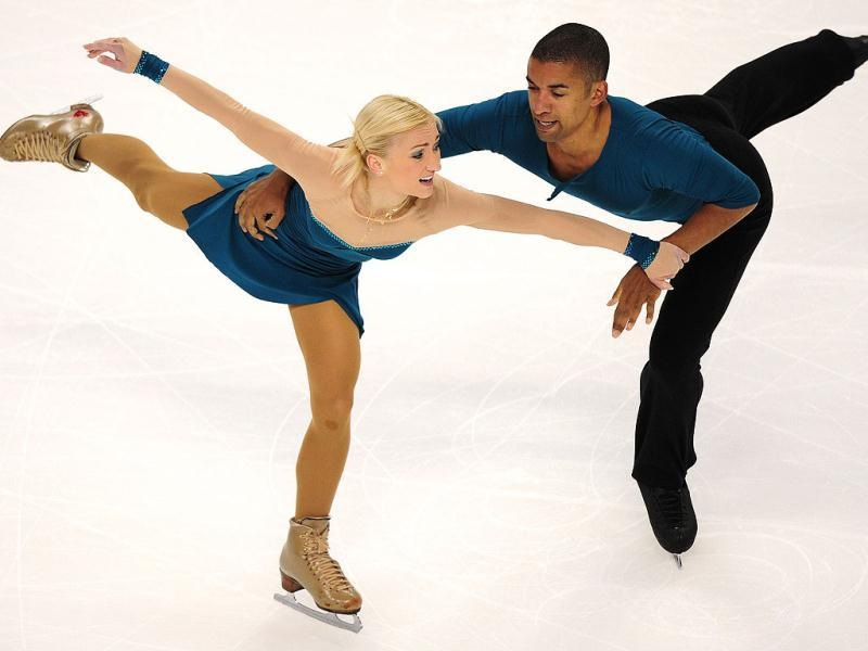 Aliona Savchenko and Robin Szolkowy of Germany perform during the Pairs Free Skate competition at the Citizens Business Bank Arena in Ontario, California, during the 2011 ISU Grand Prix of Figure Skating competition.