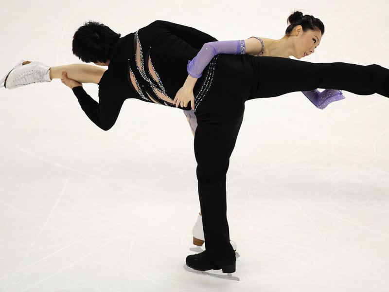 Zhang Dan and Zhang Hao of China perform during the Pairs Free Skate competition at the Citizens Business Bank Arena in Ontario, California, during the 2011 ISU Grand Prix of Figure Skating competition.