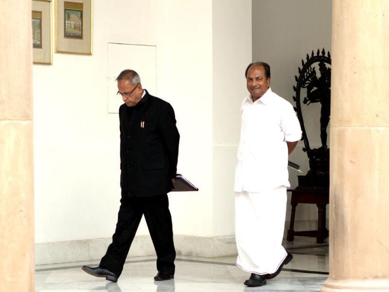 Finance minister Pranab Mukherjee with defence minister AK Antony arrive for a meeting with Bhutan's King Jigme Khesar Namgyel Wangchuck in New Delhi. (HT Photo/Sanjeev Verma)