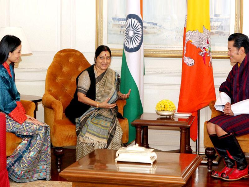 Bhutan's King Jigme Khesar Namgyel Wangchuck and Sushma Swaraj, Leader of Opposition in Lok Sabha, during a meeting in New Delhi. Queen Jetsun Pema Wangchuk is also seen. (PTI)