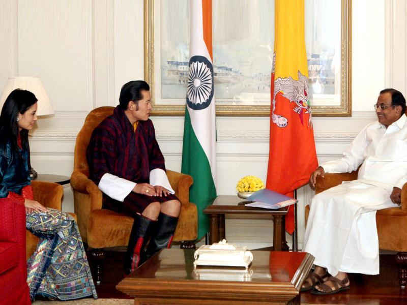 Bhutan's King Jigme Khesar Namgyel Wangchuck and home minister P Chidambaram during a meeting in New Delhi. Bhutan King's wife Jetsun Pema is also seen. (PTI)