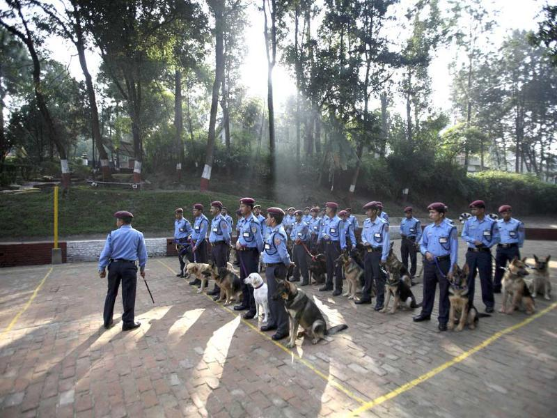 Nepalese police officers stand in attention with their dogs during the dog festival as part of celebrations of Tihar at Nepal Police Academy in Kathmandu.