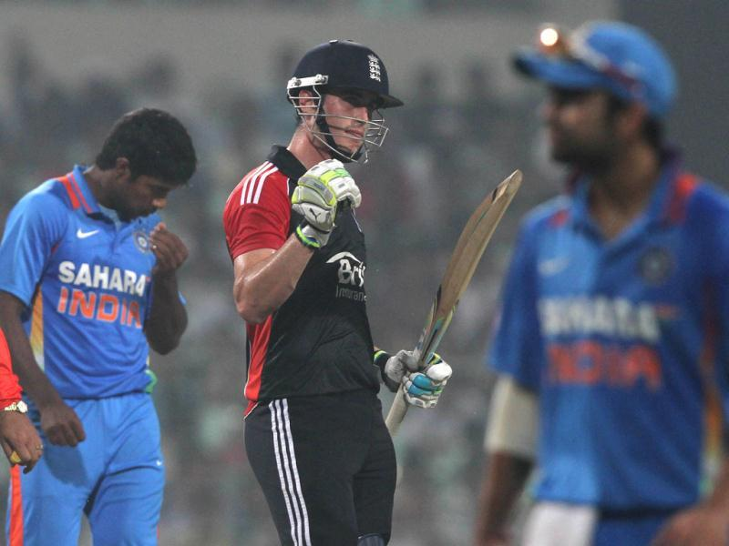Craig Kieswetter of England celebrates after scoring his half-century during the fifth and final ODI against India at Eden Gardens in Kolkata. (HT Photo/Ashok Nath Dey)