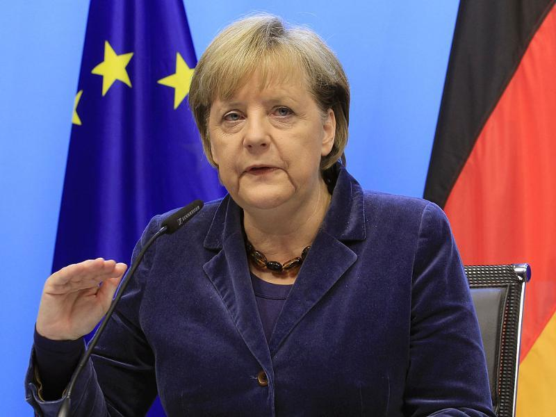 Germany's Chancellor Angela Merkel holds a news conference at the end of a euro zone summit in Brussels