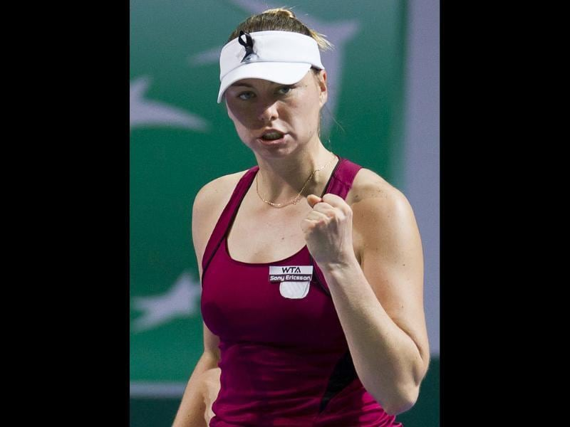 Russia's Vera Zvonareva reacts after defeating Denmark's Caroline Wozniacki during the WTA championship finals in Istanbul, Turkey.