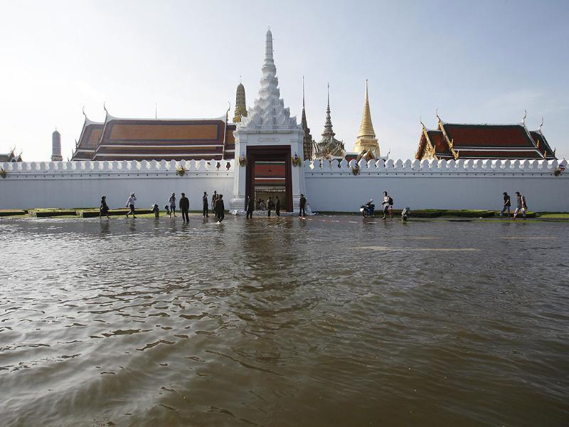 Bangkok's landmark Grand Palace is seen flooded.